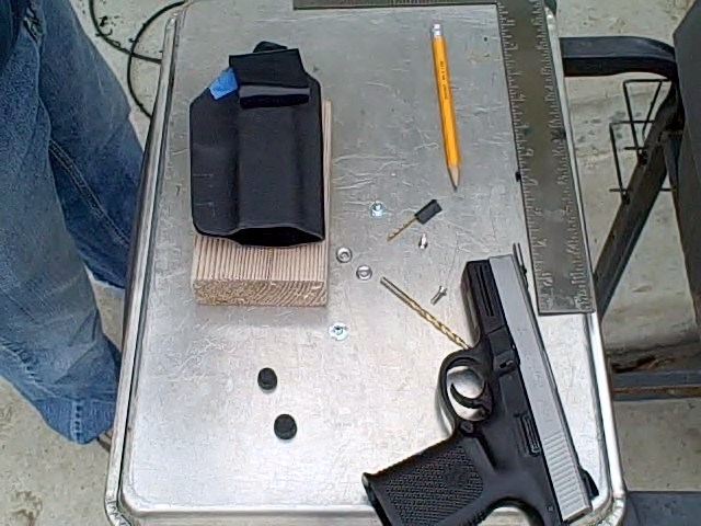 custom kydex holster marking the drill holes